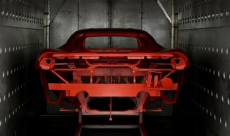 Red chassis in the painting room