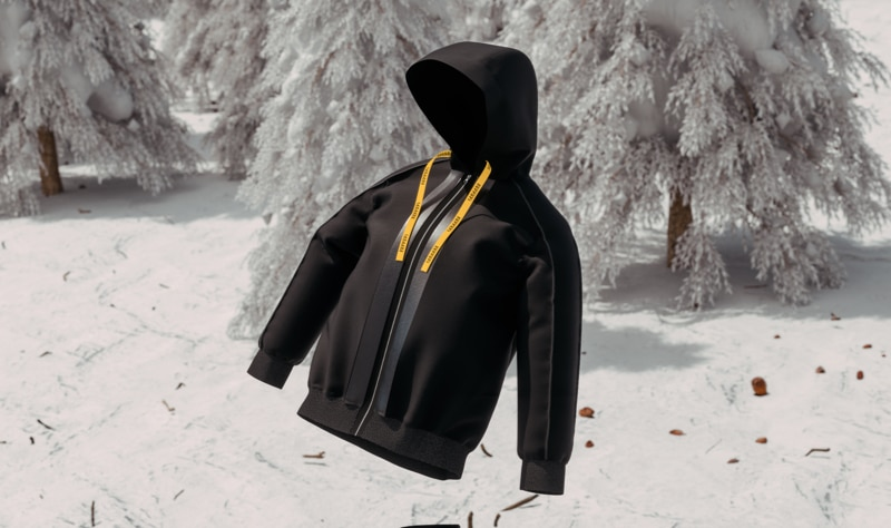 Black hooded jacket with yellow straps floating over snow-covered trees